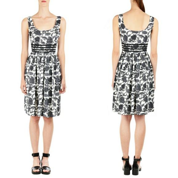 eshakti Dresses & Skirts - eShakti Graphic Floral Print Contrast Trim Dress